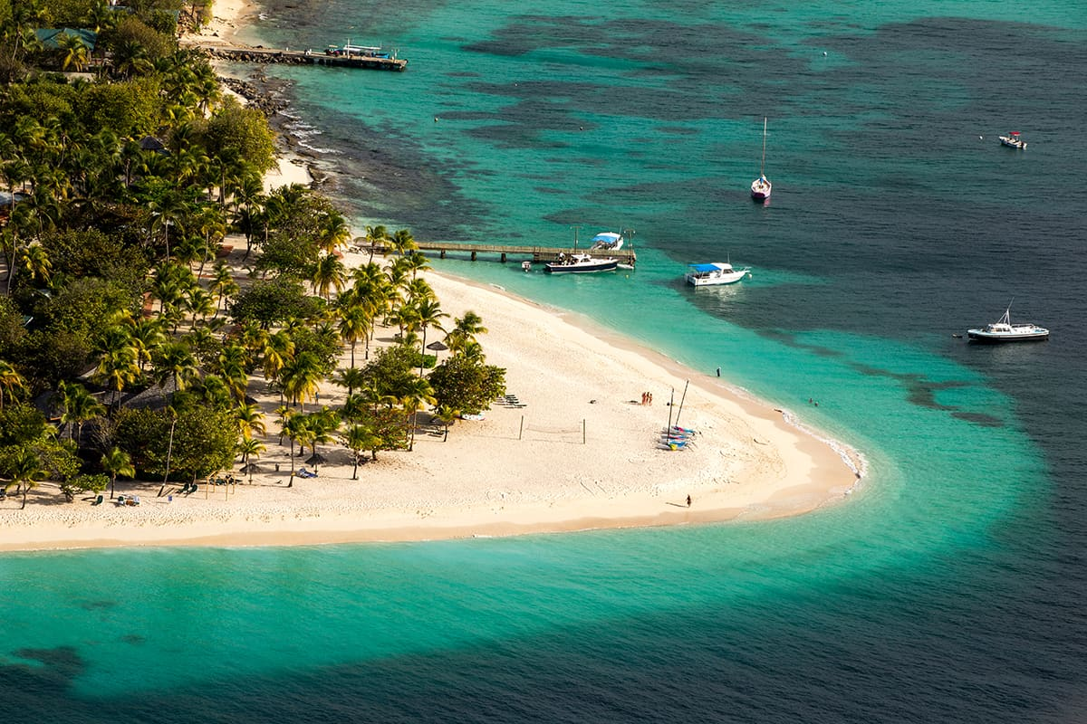 White sand beach in St. Vincent
