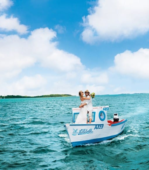 couple on boat in Aruba
