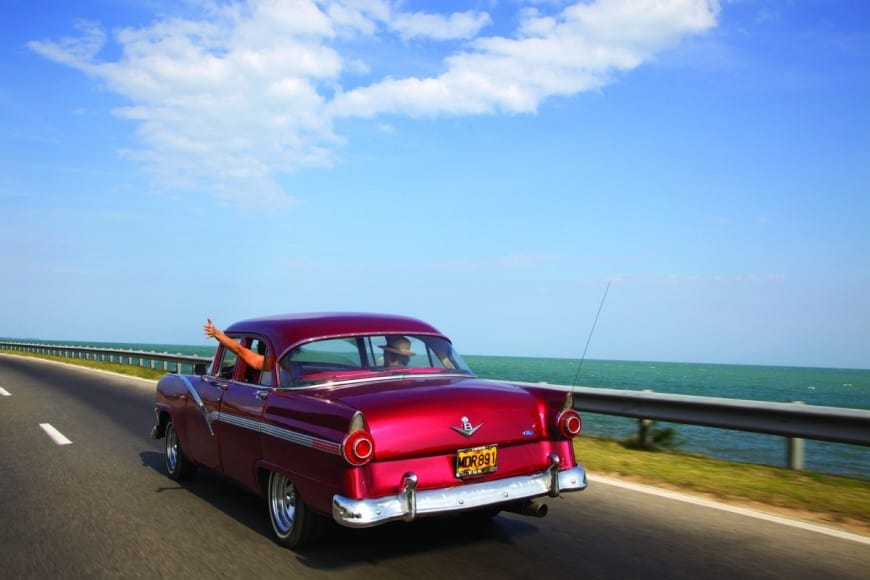 red taxi in varadeo Cuba