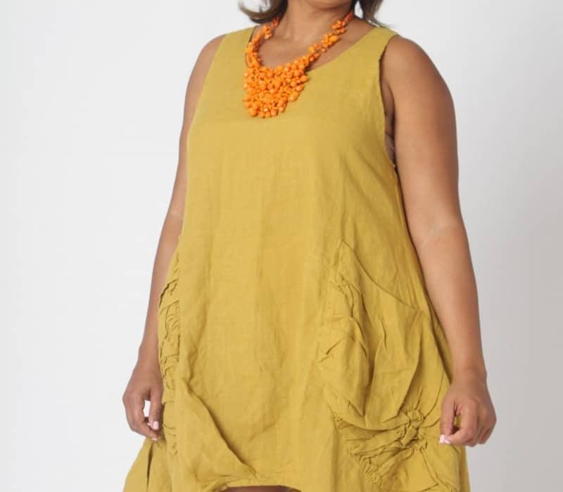 Florence Linen Dress - Olive Front