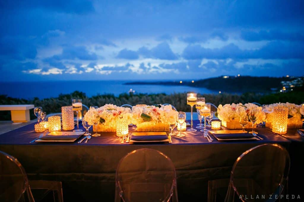 destination wedding table setting at sunset