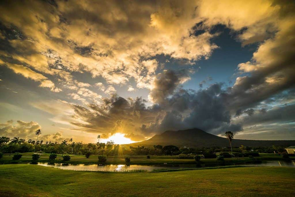 The golf course at sunset at the Four Seasons Nevis