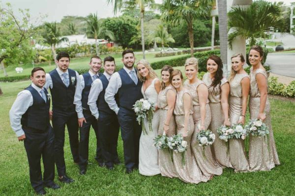 Bridal party at Paige and Brandon's destination wedding in Mexico