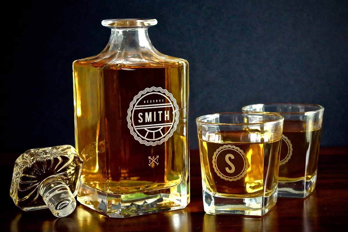 Swanky Badger custom engraved whisky decanter