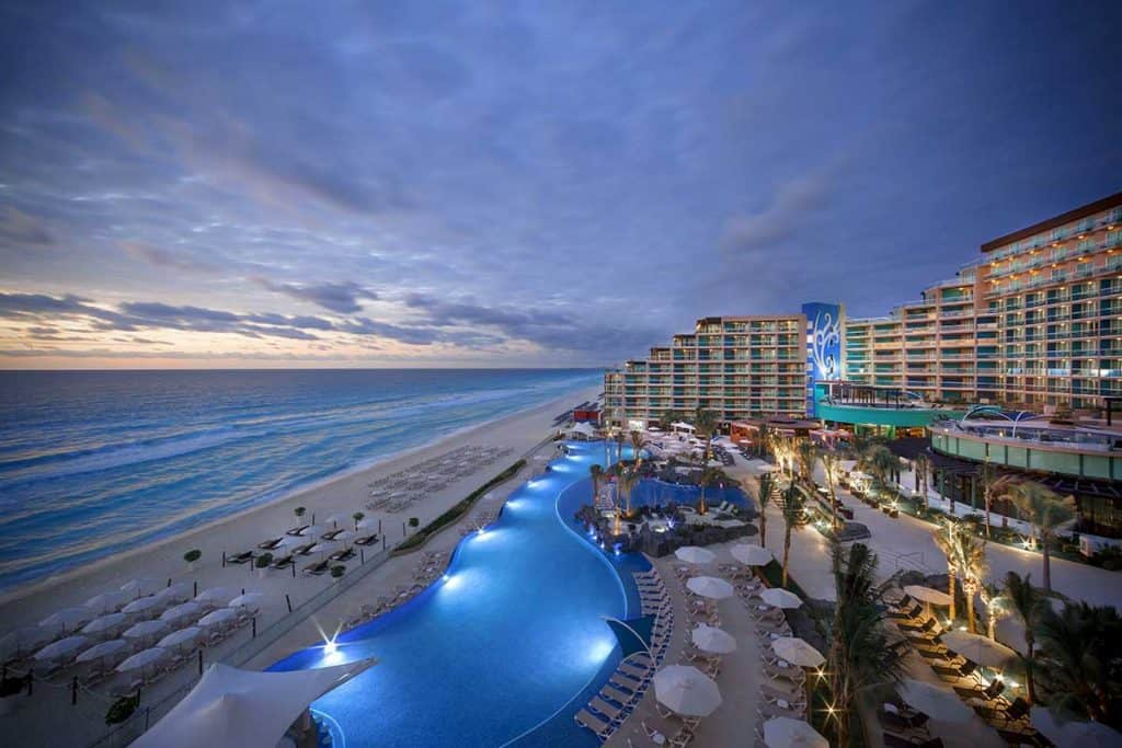 Hard Rock Hotel Cancun at sunset