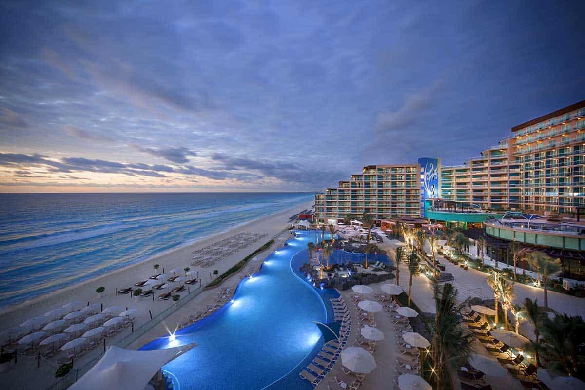 Hard Rock Hotel Cancun at sunset