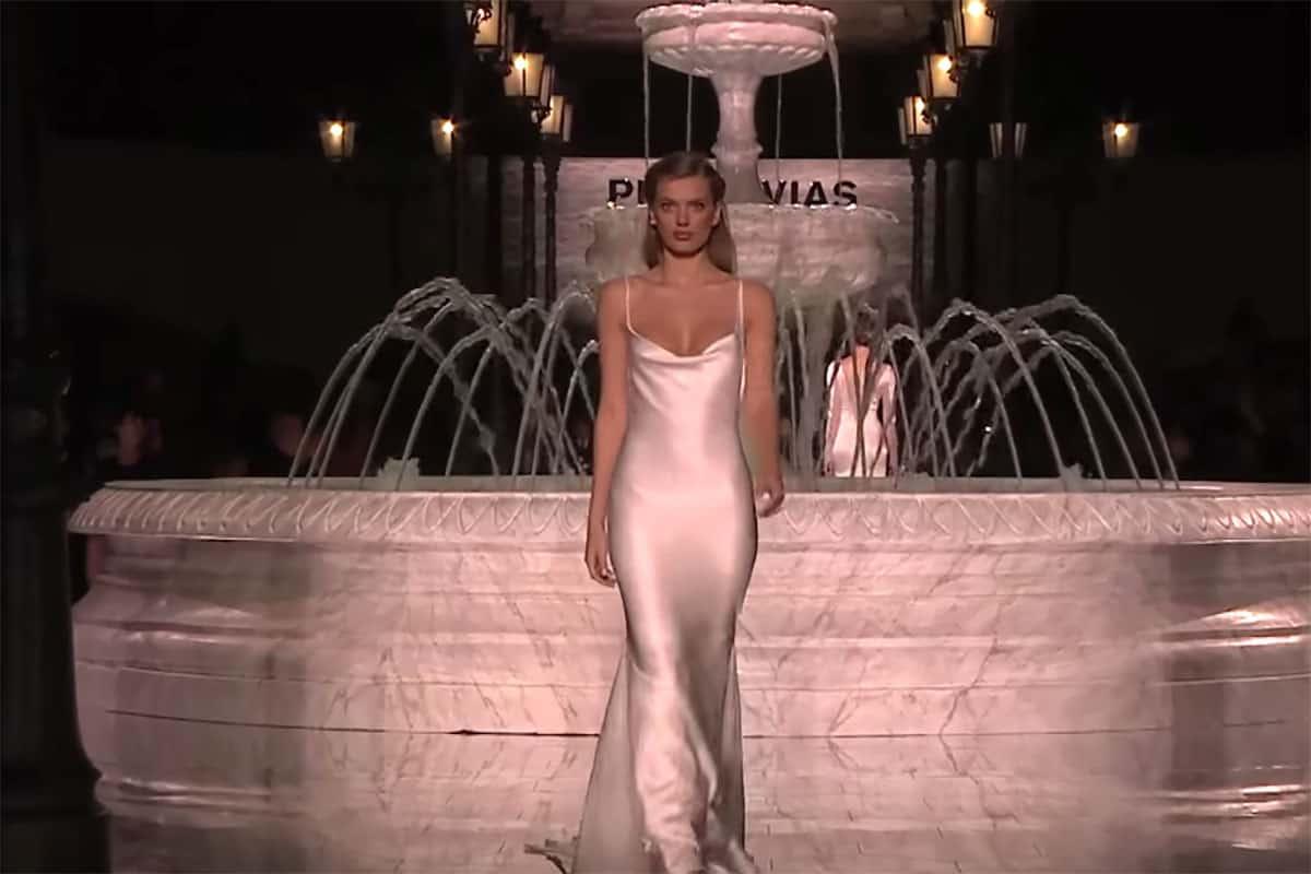 Wedding gown at the Pronovias bridal fashion show.